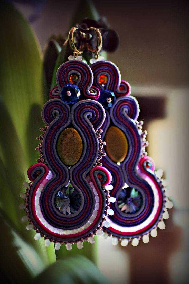 Lilac and Gold  soutache long earrings