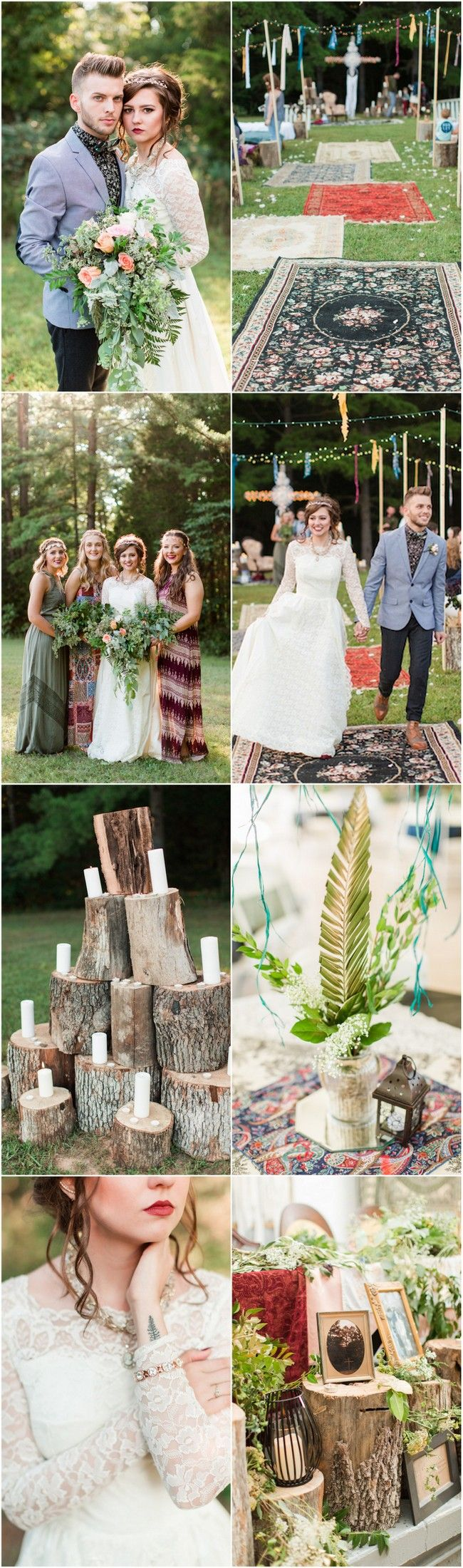 Their boho sunset campground wedding had doilies, dreamcatchers, mismatched rugs, tapestries, strings of twinkle lights overhead, candles & a Breaking Dawn inspired, vintage 1950s wedding dress! Pics: Lyndsey Paige Photography http://www.confettidaydreams.com/backyard-bohemian-campground-wedding/