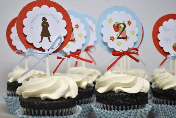 Strawberry Patch Silhouette Cupcake Toppers by TheGreenGrassGrows, $20.00