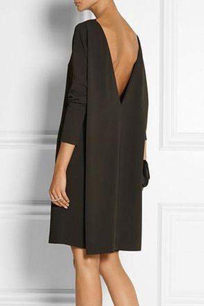 Black Backless Nine-Minute Sleeve Dress
