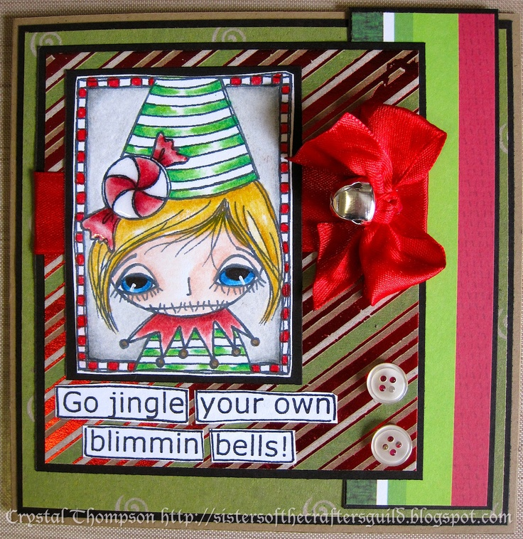 Christmas card made with Dilly Beans image coloured with Prismacolor Pencils. Sentiment from Dylusions set.