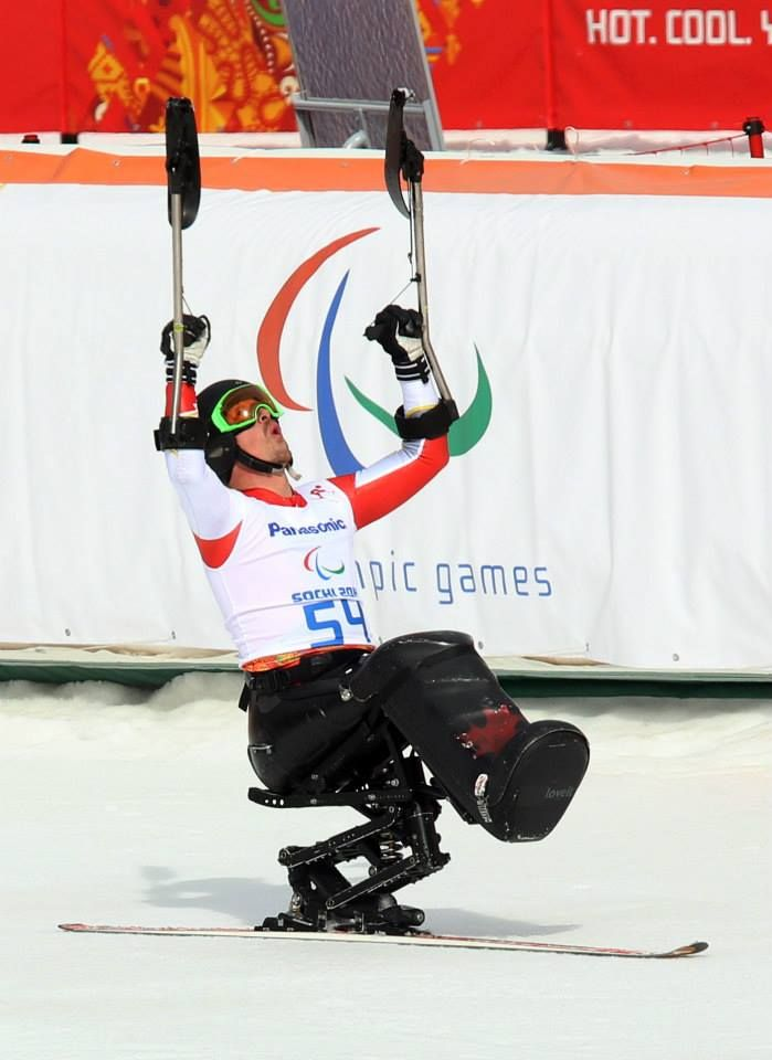 Sochi, Russia.08/03/2014-Josh Dueck wins silver in the mens sitting skiing downhill at the Rosa Khutor Alpine Centre during the Sochi 2014 Paralympic Winter Games. (Photo: Scott Grant/Canadian Paralympic Committee)