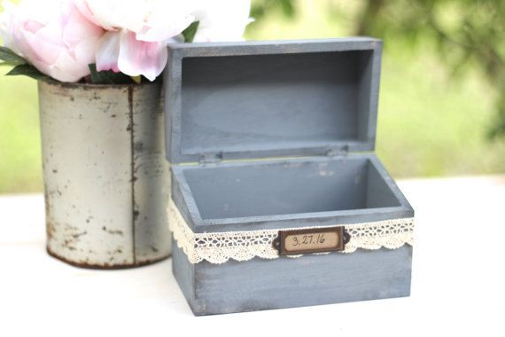 Our handmade wooden boxes are perfect for your special day or to gift to a loved one. Wrapped in delicate lace and personalized just for you! We recommend this pretty little box for baby showers, small intimate weddings, or a recipe box. They make great gifts too! Advice box, Memory box, Recipe Box, etc // by DesignLifeStudio