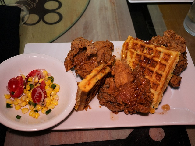 OG Recipe Fried Chicken with cheddar corn meal waffle, candied bacon syrup, and pickle okra at the Rebel House, Boca Raton, Florida by dfgideon, via Flickr
