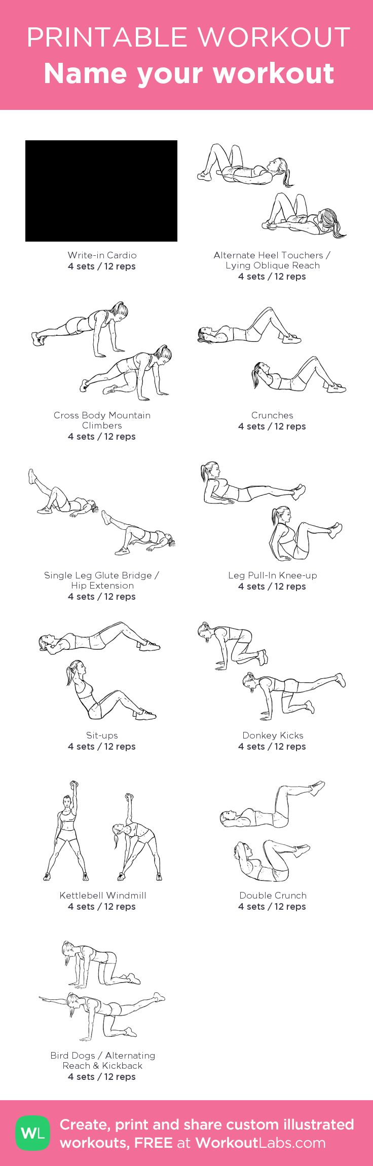 Name your workout –my custom workout created at WorkoutLabs.com • Click through to download as printable PDF! #customworkout