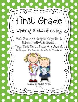 """First Grade Writing Units of Study"" {Supports the Common Core}  162 pages, including suggested minilessons, rubrics, self-assessments, graphic organizers, paper templates, teaching posters, awards, and more."