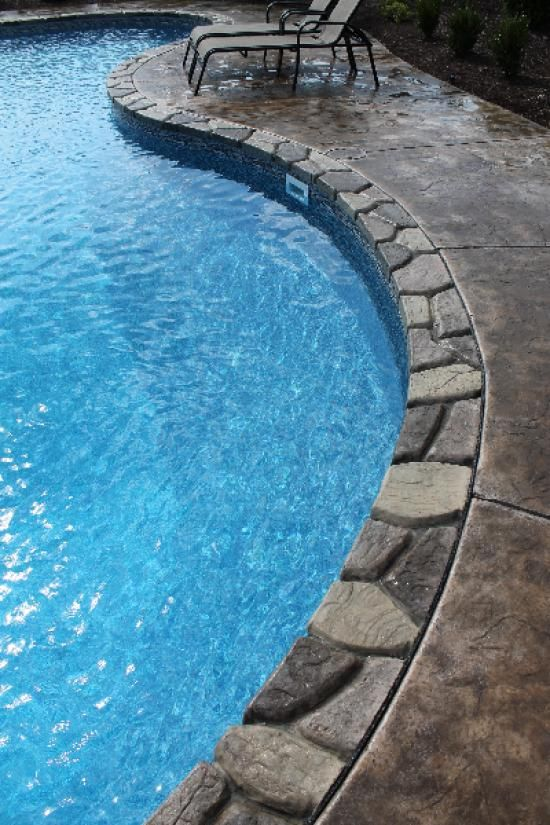 Faux stone pool coping coping options aloha pools for Stone swimming pool