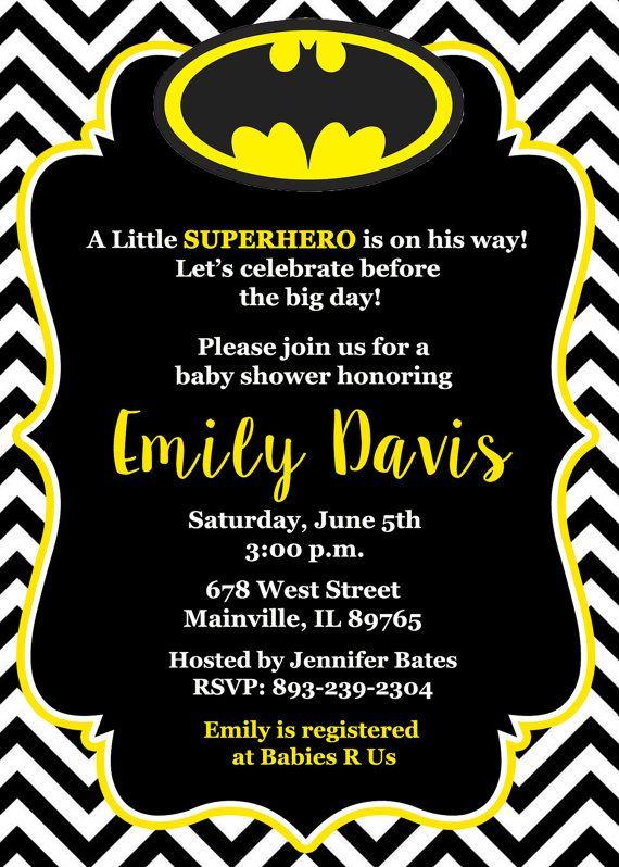 Batman Baby Shower Invitation Baby Invitation by PrettyPaperPixels