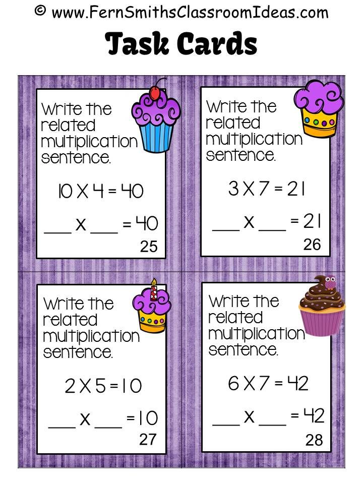 #FREE four task cards to try before you buy. **50% OFF for the first TWO days!** Commutative Property of Multiplication Task Cards and Recording Sheets for 3.OA.B.5 with a Cupcake Theme. #TPT $paid