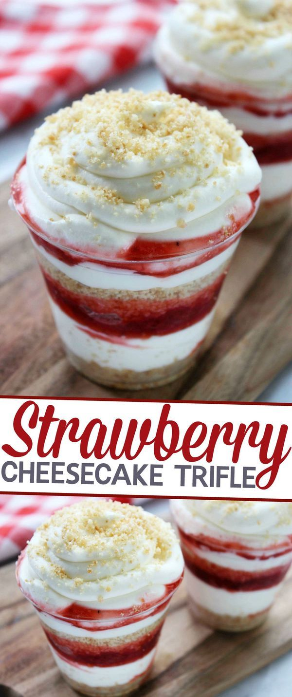 Strawberry Cheesecake Trifle Recipe - an easy, no fuss, summer dessert perfect for serving at summer parties!