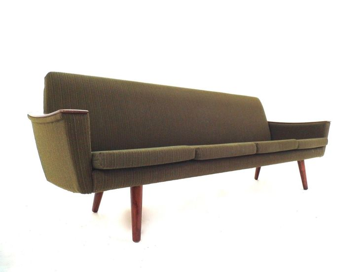 Scandinavian Green Wool & Teak 4 Seater Sofa Midcentury 1950s