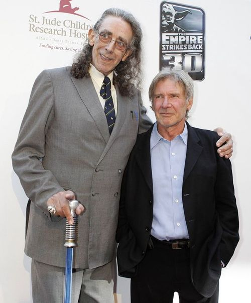 Peter Mayhew (Chewbacca) and Harrison Ford (Han Solo) reunited.