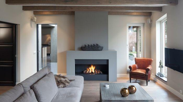 ▷ 1001+ Ideen zum Thema Offener Kamin/ Gemauerter Kamin - Laminat Grau Wohnzimmer