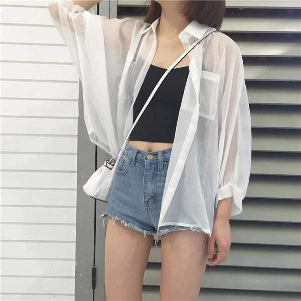 buy white light summer coat buttons blouse cheap trendy