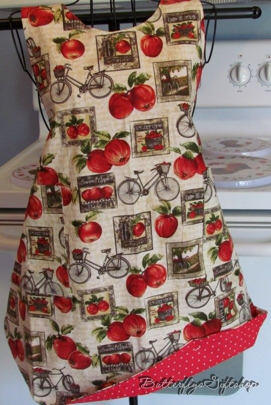 "Handmade Reversible APRON""Apples & Bicycles"""