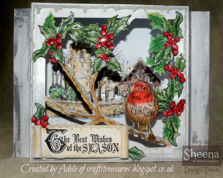 Sheena Douglass Christmas Robin die frame from the Scenic Christmas Collection.