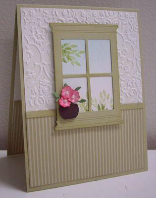 Really cute indoor window card.Die Cut, Windows Cards, Memories Boxes, Embossing Folder, Windows Boxes, Boxes Windows, Windows Die, Old Windows, Old Houses