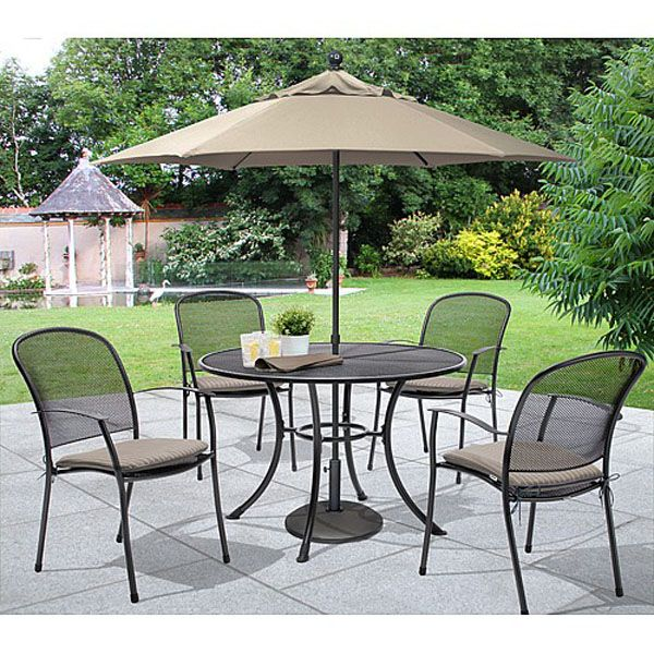 kettler caredo 4 seater round set comfortably seats 4 people in the garden with stylish steel mesh chairs table and parasol