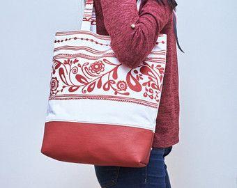 Ethnic Tote Bag, Vegan Leather