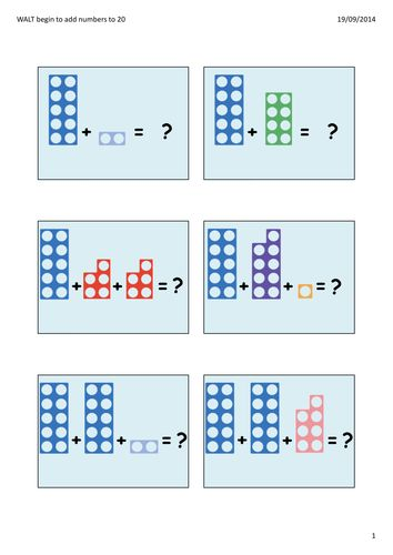 PowerPoint to model how to use Numicon to add and to record number sentences/maths stories correctly.  Most pages are up to 20, with a couple of additional...