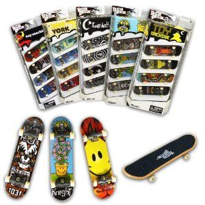Tech Deck 96MM Fingerboards 4 Pack (Styles vary) by Spin Master. $16.29. Authentic Skateboards from Real Skate Companies. Track your Collection with the online Collector?s Tool. Includes: 4 Complete Boards, Stickers, Tool. Learn New Tricks & Tips from TechDeck.com. E-Z Grip Tape with Every Board!. From the Manufacturer                Feel like a pro on tour with four complete boards to choose from. Each one comes complete with real skateboard parts including metal trucks,...