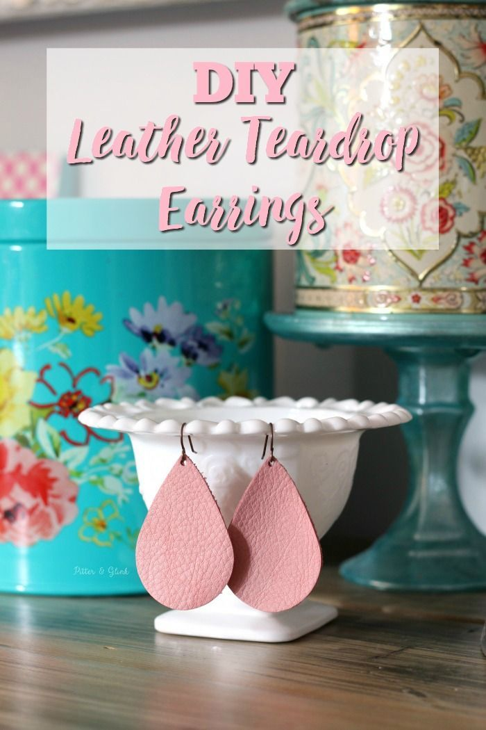 Learn how to make these beautiful DIY Leather Teardrop Earrings in ten minutes! pitterandglink.com