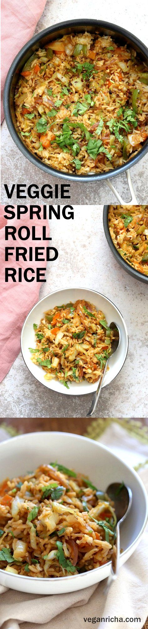 1 Pot, 30 Minute Veggie Spring Rolls Fried Rice! Fridge clean up fried rice with cabbage, carrots, bell pepper,  with rice or other cooked grains for a quick weeknight meal. #Vegan #veganricha #Glutenfree #Nutfree #Recipe | VeganRicha.com