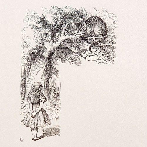 Джон Тенниел  Английский художник, карикатурист; первый иллюстратор книг Льюиса Кэрролла «Алиса в Стране чудес» и «Алиса в Зазеркалье», Во времена Кэрролла в ходу была поговорка: «Улыбается как чеширский кот». Объясняя происхождение поговорки, исследователи выдвинули две теории. Согласно первой, в графстве Чешир некий неизвестный маляр рисовал ухмыляющихся львов над дверьми таверн[7]. Согласно второй, чеширским сырам иногда придавали форму улыбающихся котов[8]