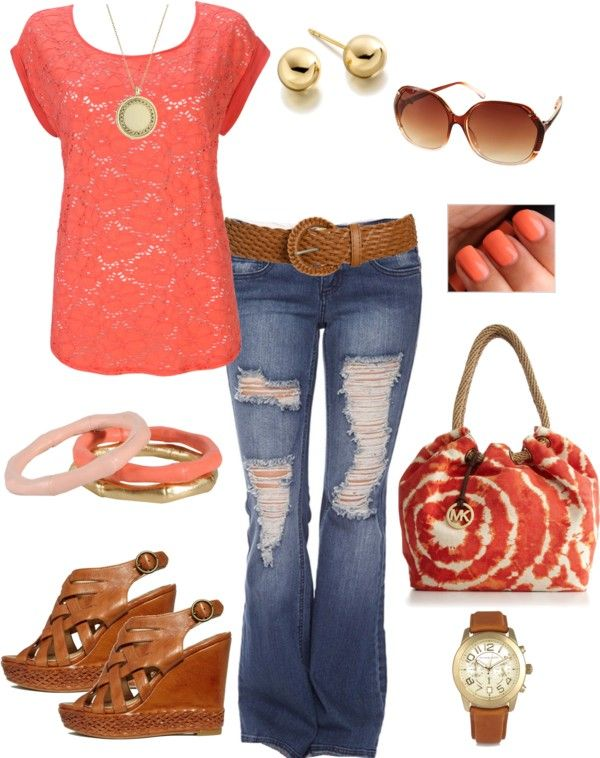 cute!: Shoes, Ripped Jeans, Shirts, Color, Dream Closet, Casual, Coral Outfit, Coral Ties, Spring Summer 3