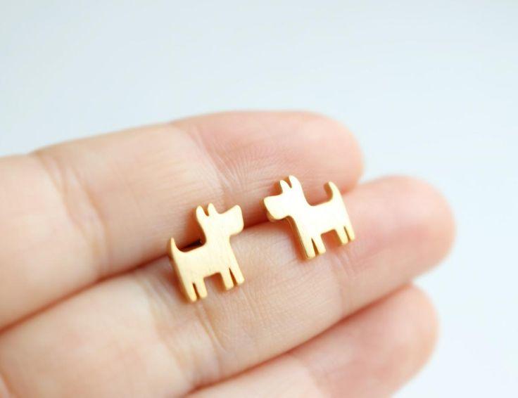 Puppy Stud Earrings, Dog Earrings, Animal Earrings, Minimal, Simple on Luulla
