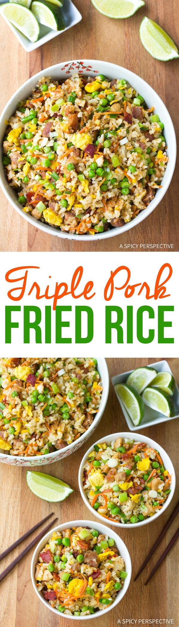 Triple Pork Fried Rice, a classic Asian-inspired Hawaiian dish, is comfort food at it's best. This pork fried rice recipe is loaded with bacon, pork and ham via @spicyperspectiv