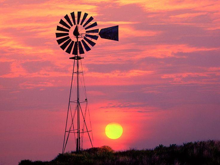 Windmill At Sunset Near Colfax, Washington