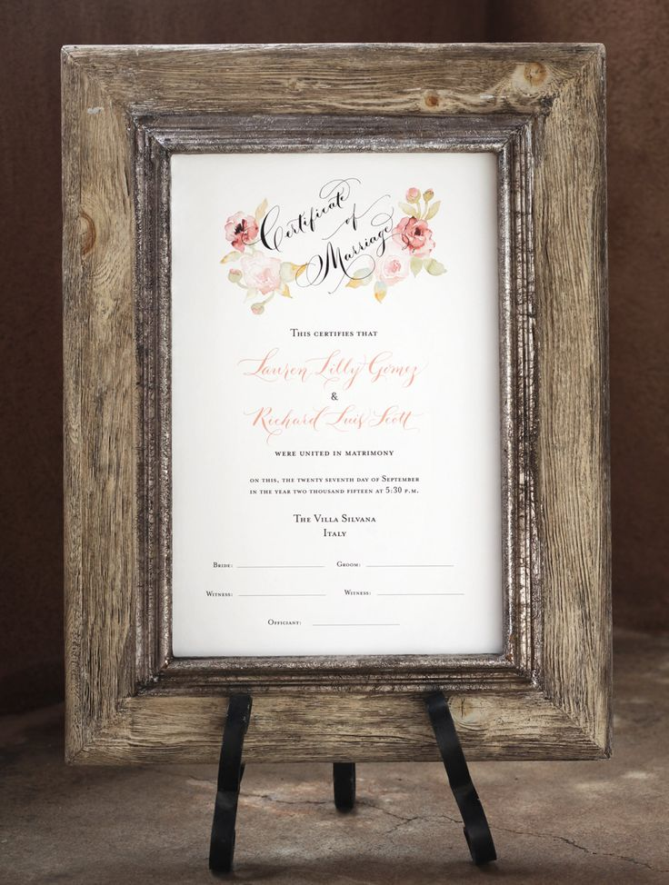 Marriage Certificate, Wedding Certificate, Custom Calligraphy, Watercolor Design by eDanae on Etsy https://www.etsy.com/au/listing/255014783/marriage-certificate-wedding-certificate