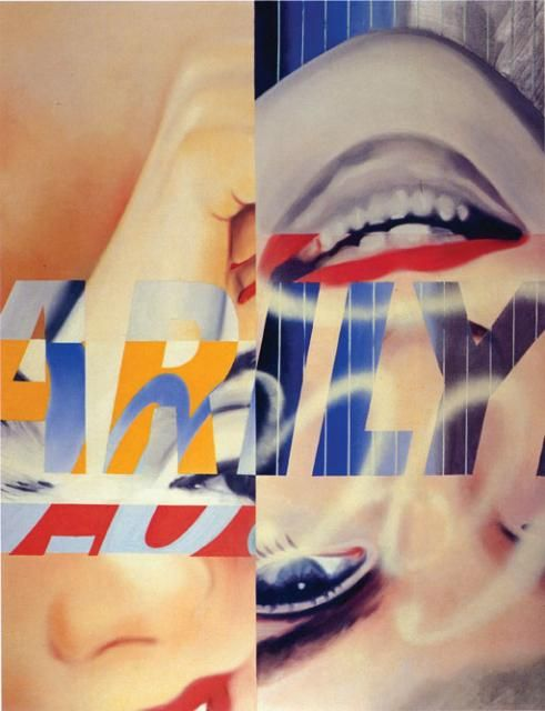 """James Rosenquist - """"Marilyn"""" Oil and spray enamel on canvas 93 x 72¼ inches"""