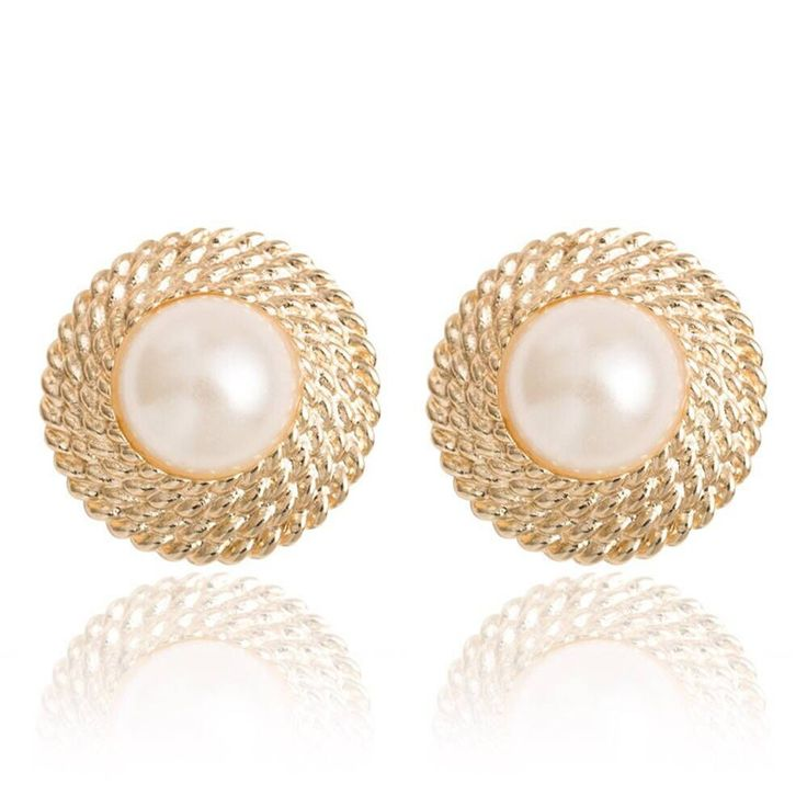 Hot Lovely Wedding Gold Plated Big Imitation Pearl Ear Cuff Jewelry Clip On Earring for Women Girls Bridal Cartilage Non Pierced