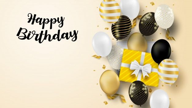 Happy Birthday Celebration Card Design With Black White Gold Balloons And Gold Foil Confetti Soft Background Happy Birthday Black Happy Birthday Celebration Gold Balloons