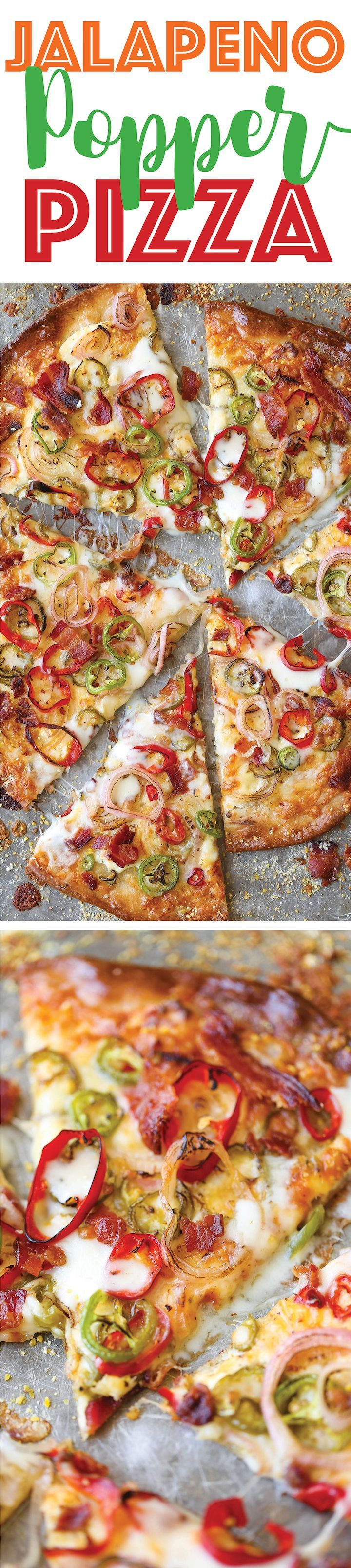 Jalapeño Popper Pizza - All the flavors of a cheesy jalapeño popper is so much better in pizza form, with added bacon of course!