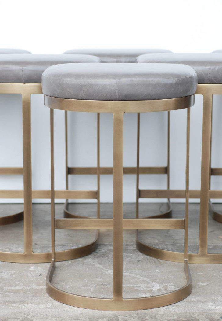 Vintage Round Gray Leather Bar Stools With Brown Metal
