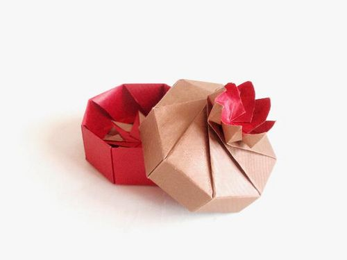 Origami Box - Octagon with Rose