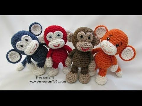 video written pattern here http://www.amigurumitogo.com/2014/05/little-bigoot-monkey-free-amigurumi-pattern.html