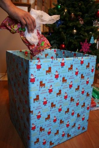 BRILLIANT idea!  Wrap a tall box to hold all wrapping and open packages to look better in pics than a garbage bag=]