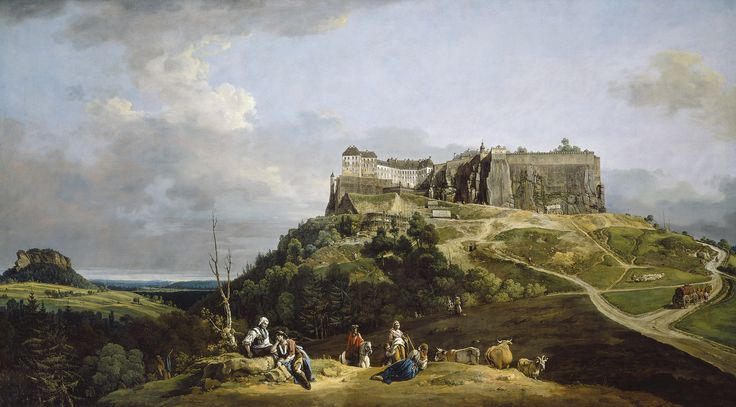 https://flic.kr/p/cWvwtE | Bernardo Bellotto - The Fortress of Königstein [1756-58] | The painting is one of five large views of an ancient fortress near Dresden commissioned from Bellotto (Italian, 1722 - 1780) by Augustus III, King of Poland and Elector of Saxony. The panorama encompasses a broad expanse of the picturesque, craggy landscape known as Saxonian Switzerland, which Bellotto invested with a monumental quality rarely seen in eighteenth-century Italian painting. The great castle…