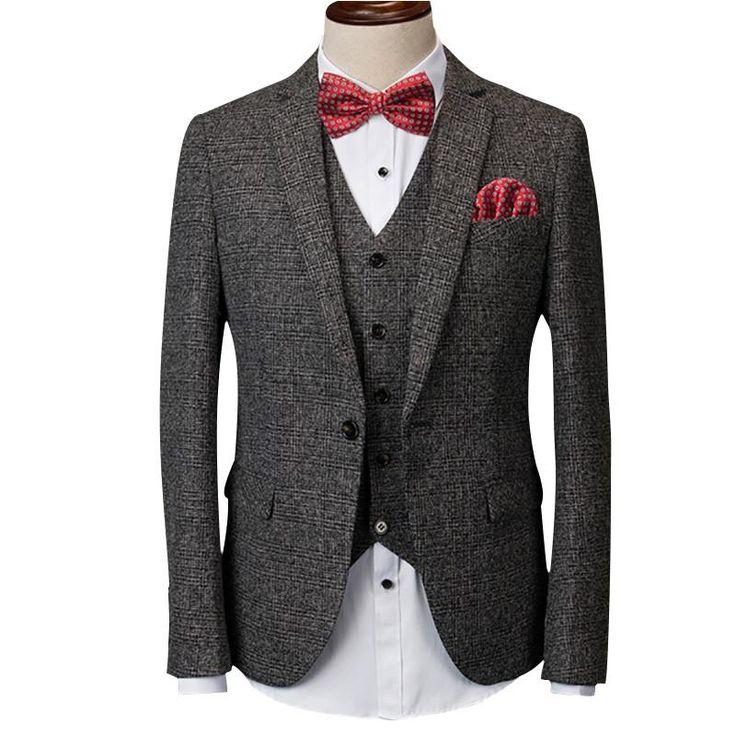 Quality jacket pants vest men suit set for wedding spring casual slim fit party dress business plaid suit