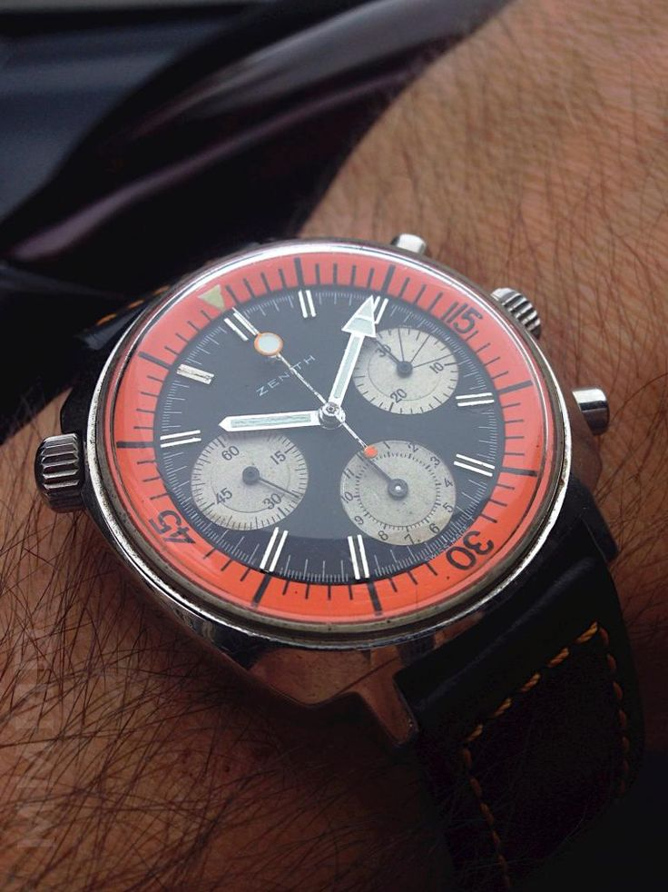 Brilliant Vintage Zenith Super Sub Sea Chronograph In Stainless Steel