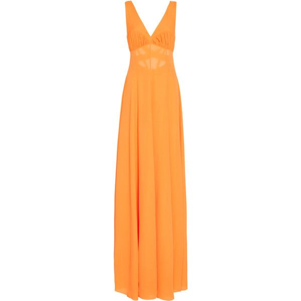 Emilia Wickstead Fanina Crepe Gown ($790) ❤ liked on Polyvore featuring dresses, gowns, orange, orange evening gown, surplice dress, orange gown, orange polka dot dress and rouched dress
