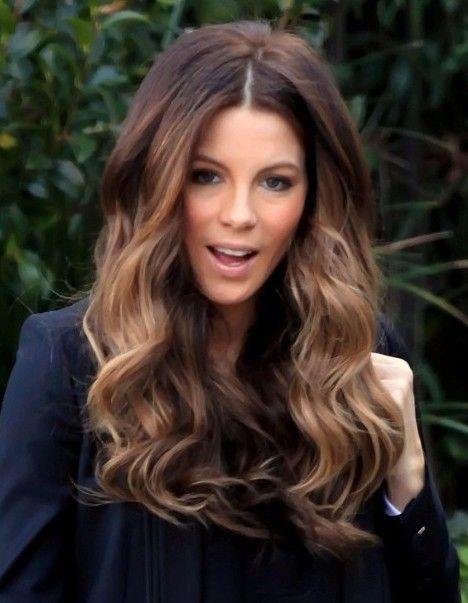 Kate Beckinsale light brown balayage ombre hair