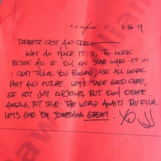Carta de JJ Abrams al reparto de Star Wars VII