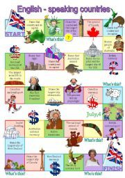 English worksheet: English-speaking countries board game