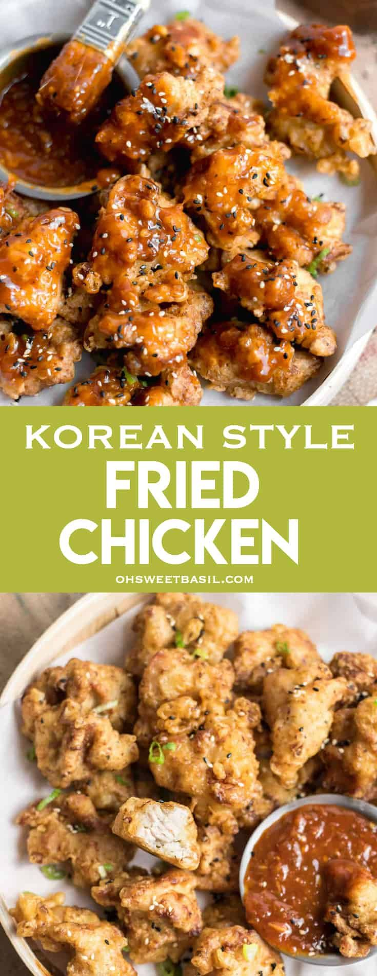 This hugely addictive #Korean Style #FriedChickenwill quickly become your new favorite #appetizer, snack, or even an entrée! Korean recipes are so good! via @ohsweetbasil