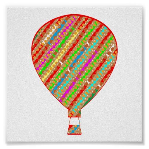 Gas Balloon Colorful Graphic ART : DISPLAY ENJOY Poster